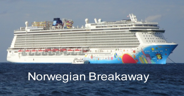 This is a picture of the Breakaway from their private island, Great Stirrup Cay. You can see the New York themed hull art designed by Peter Max.