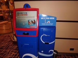 Sign & Sail kiosk in the lobby