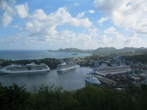 Looking at the cruise ships from above Castries, St Lucia