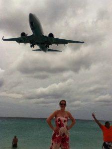 Standing on Maho Beach