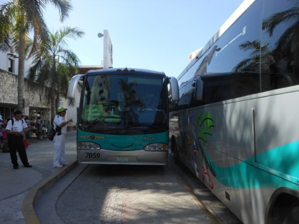 Busses used for excursion to Tulum