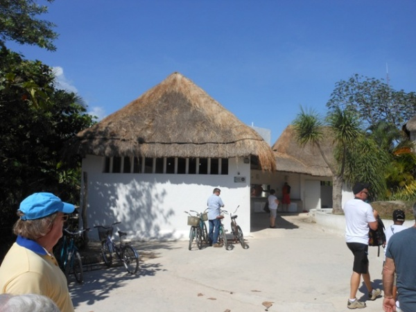 These white buildings are the restrooms outside of archaeological area at Tulum