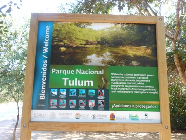 Tulum National Park sign. Most things here were in Spanish and English.