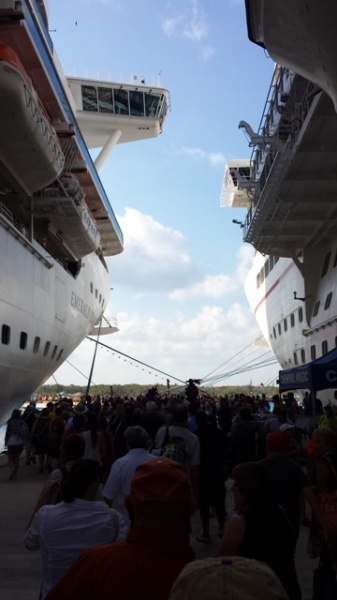 Heading off the ship with the masses at Cozumel