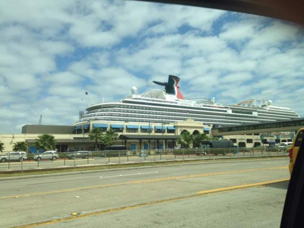 The Carnival Magic docked in Galveston, TX. Parking was right across the street and we simply parked the rental car in the covered and locked building and in less than 10 minutes we were walking into the security area to check in for the cruise.