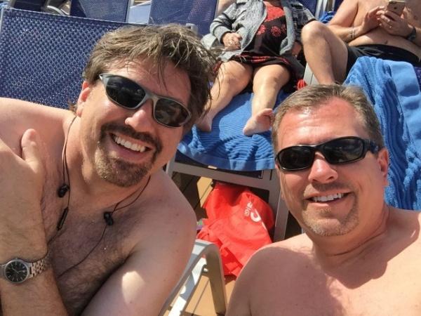 Steve & Ric enjoying the sun at sea