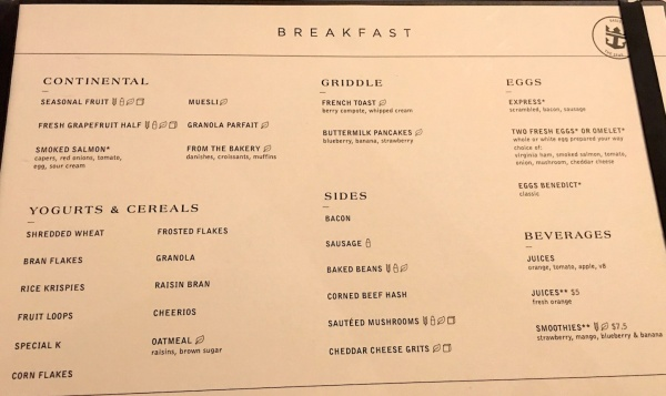American Icon Grill Breakfast Menu on Royal Caribbean Oasis of the Seas