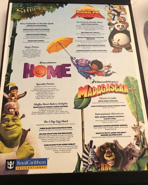 DreamWorks Rise & Dine Character Dining Breakfast Menu - Royal Caribbean Oasis of the Seas