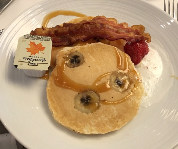 Banana Pancakes and Bacon from the American Icon Grill Menu - Royal Caribbean Oasis of the Seas