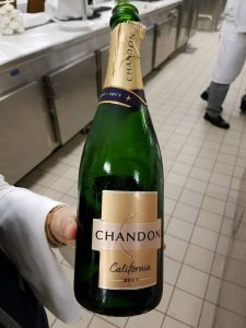 Chandon Brut during the appetizer course. Not bad tasting for an affordable sparkling wine.
