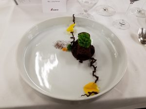 Chocolate Hazelnut with Basil moss, cocoa logs and chocolate soil