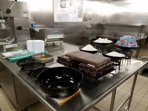Pastry section of the galley and a Chocolate Melting Cake setup.