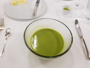 Pea Soup with Matcha Whisked In