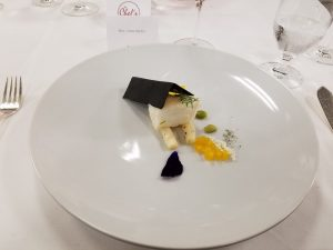 Olive Oil Poached Sea Bass with asparagus and white miso