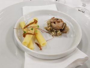 Quail, Wild Mushrooms and Carnaroli with parmesan, pepper threads and roasted onion jus.