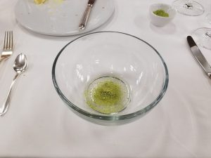 Dried Matcha in soup bowl