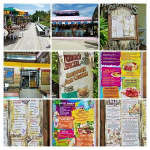 Food options at Mahogany Beach, Roatan.